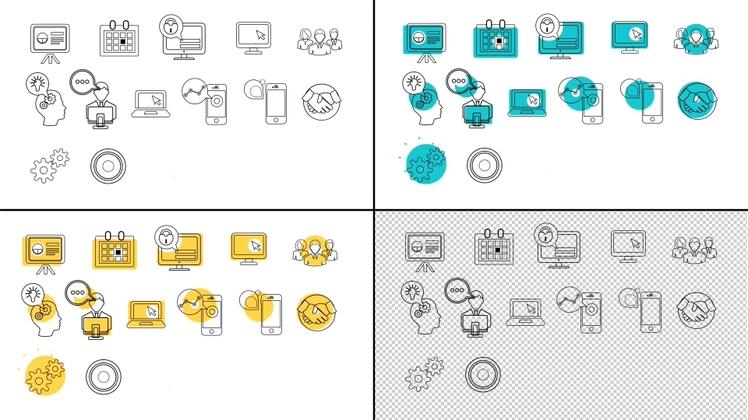 各种公司商务动态网络业务图标动画