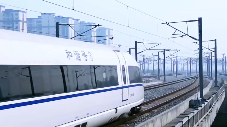中国经济发展高铁动车城市穿梭高清视频素材