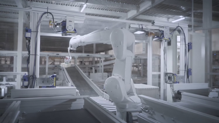 中国京东上海无人仓库机器人分发高清视频素材