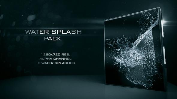 一组液体水花喷溅透明通道视频素材