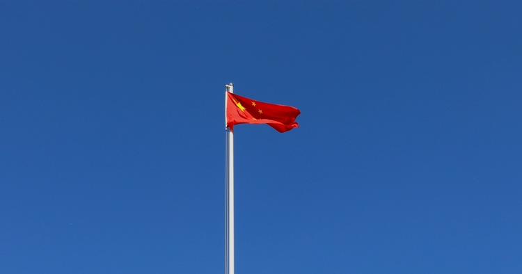 蓝天,中国,五星红旗,空镜头五星红旗在蓝天迎风飘扬高清实拍视频素材