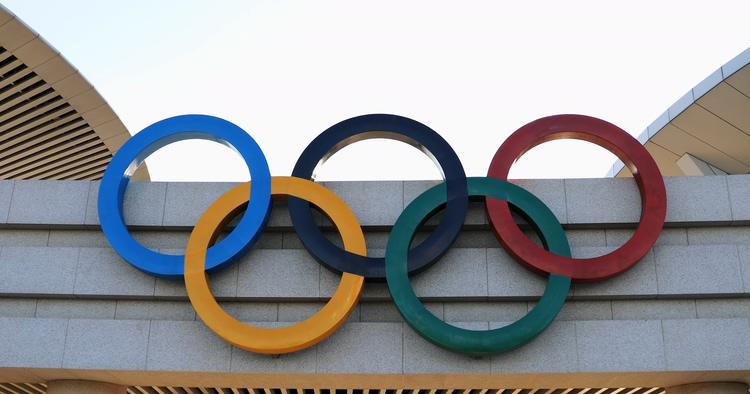 奥运奥林匹克五环标志实拍空镜头高清素材