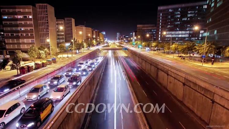 城市夜晚车流高清视频素材