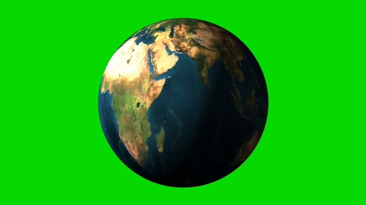 绿色抠像背景旋转的地球视频素材