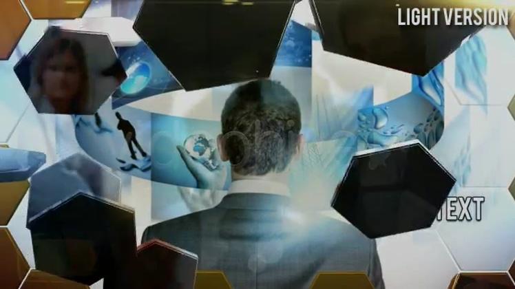 蜂巢,六边形,公司,业务,蜂巢六边形元素风格展现业务宣传视频素材