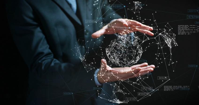科技手势账务科技粒子图形视频素材