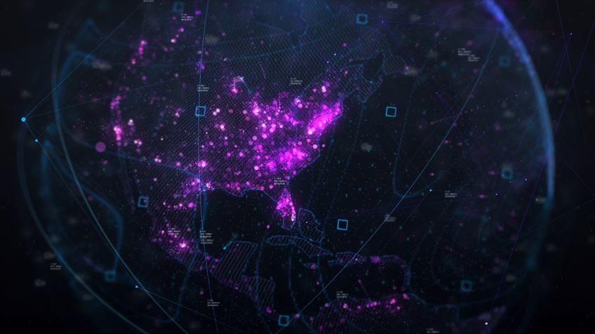 科技粒子地球美国业务板块业务介绍视频素材