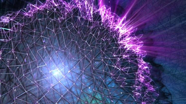 网状球体光芒四射背景视频素材