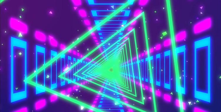 多彩霓虹灯旋转三角形舞台vj背景视频素材