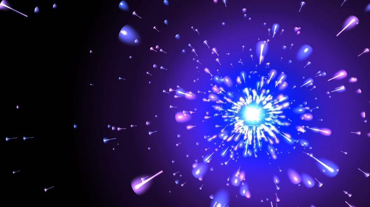 紫色粒子光芒四射梦幻舞台背景视频素材