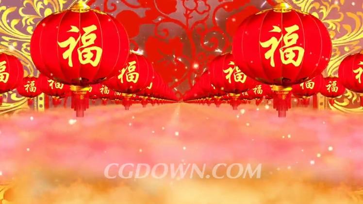 喜庆福满灯笼春节背景视频素材