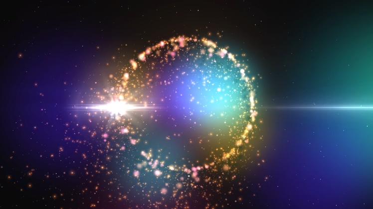 星光闪耀璀璨发光粒子光环背景视频素材