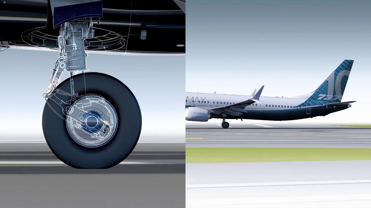 波音737客机加长起落架折叠说明视频素材