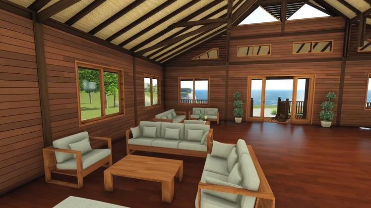 3d制作漫游巴厘岛海边木屋动画