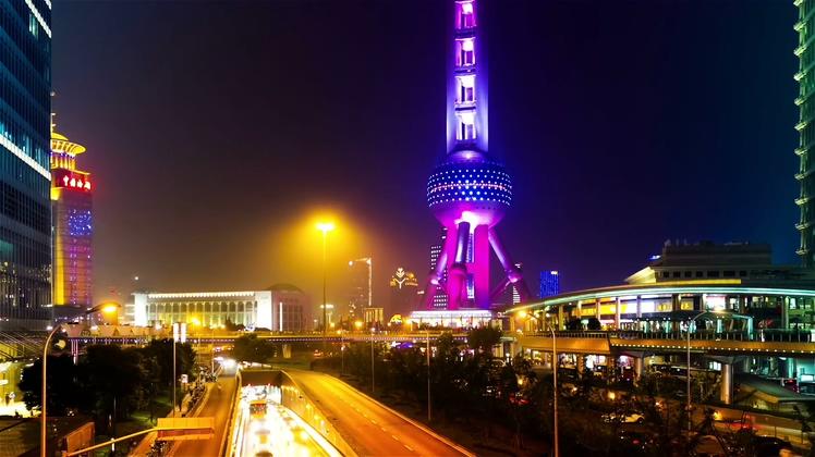 拍摄,车流,延时,夜晚,上海,城市交通,中国视频素材