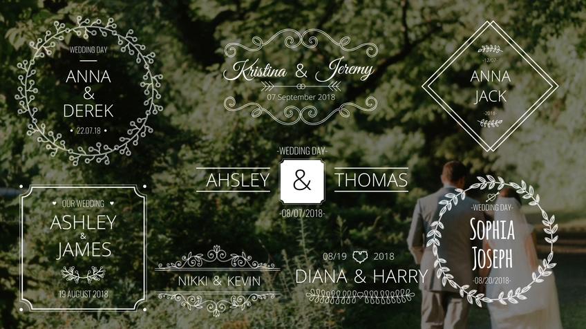 浪漫欧式生长花纹婚礼标题模板