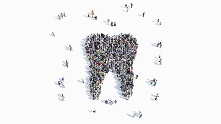 带黑白通道的3d人物走路聚合成牙齿的形状保护牙齿