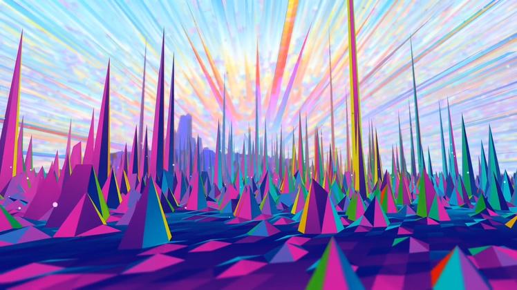 魔幻,多边形,彩色,卡通,情景,魔幻多彩阳光多边形图形绚丽背景视频素材