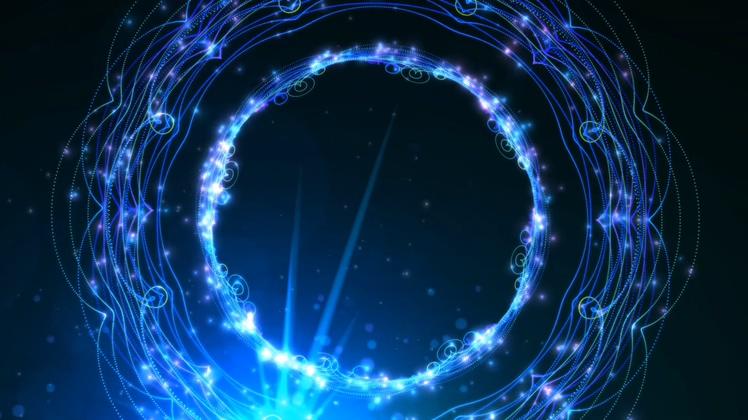圆圈,舞台,华丽,led,华丽蓝色舞台led背景光圈背景素材视频素材