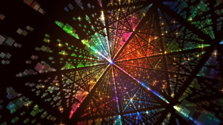 光芒,方形,空间,璀璨,多彩,绚丽多彩璀璨空间方形透射光芒视频素材