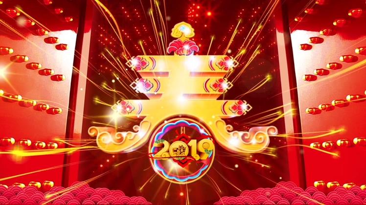 2019新年新春金猪祝贺开门红背景