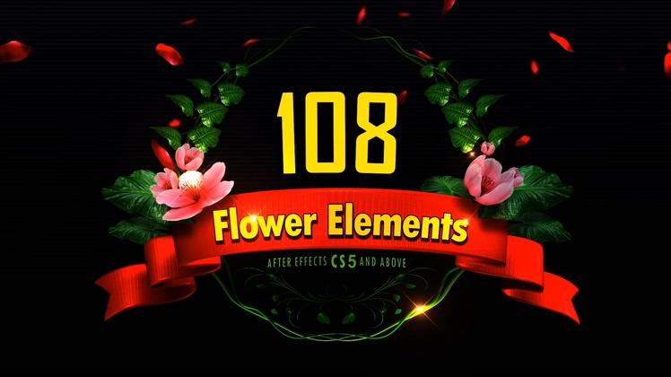 丰富的108种动态花朵生长带透明通道视频素材