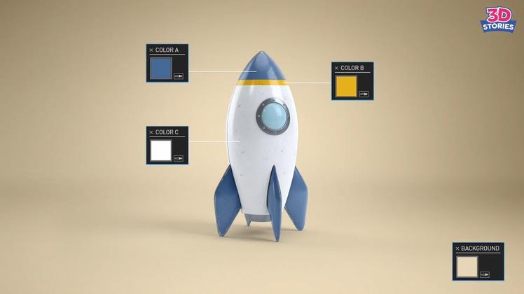 3d三维卡通火箭发射科学小片头