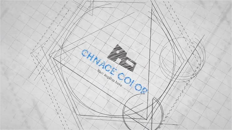 科技图纸点线设计工作室片头logo