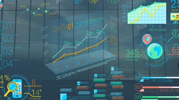财务,信息,数据,报表,增长,华丽3d图标信息数据报告元素模板视频素材
