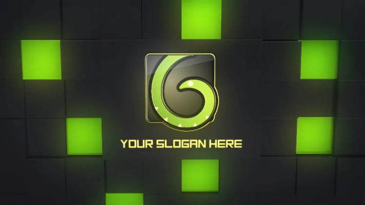 3d方块下沉变换显现霓虹灯logo片头
