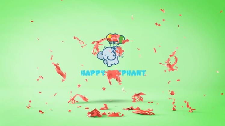可爱卡通多彩气球爆炸显现节目频道logo
