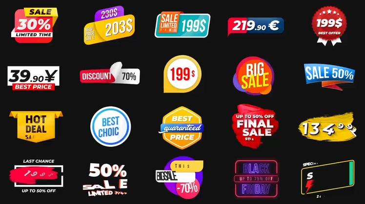 产品,促销,打折,销售,20种视频网络销售产品促销打折动态标签视频素材