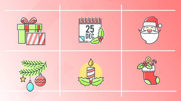 圣诞,快乐,动漫,图标,30个快乐圣诞节元素动态动漫图标视频素材