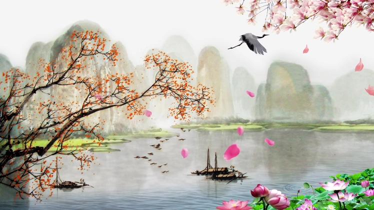 中国,山水,飞鹤,河流,荷花,led,中国山水水墨风景led视频素材视频素材