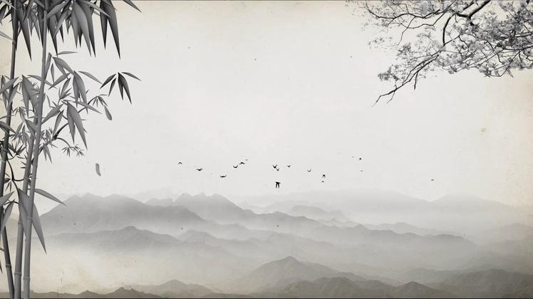 竹子,竹林,水墨,山水,飞鸟,中国水墨山水竹林led视频背景视频素材