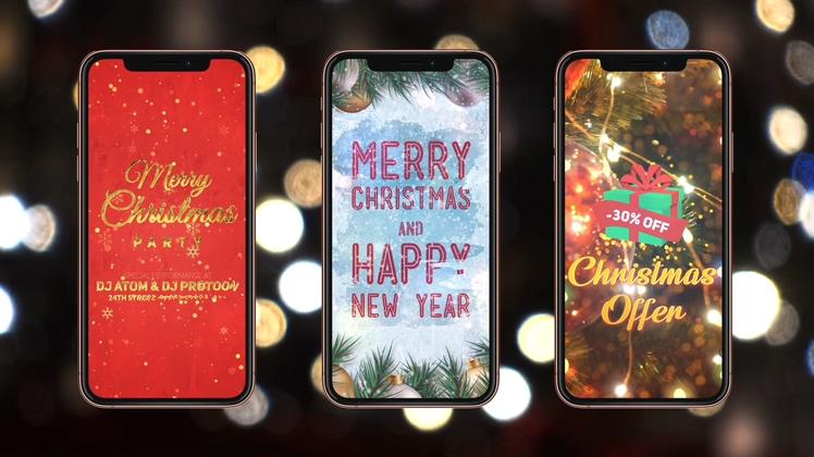 竖屏,圣诞节,促销,12个竖屏浪漫促销圣诞节宣传片头视频素材