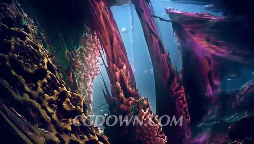 海底,璀璨,梦幻,华丽璀璨海底亚特兰蒂斯绚丽背景视频素材