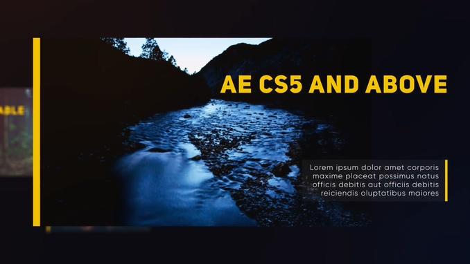 动感,滑动,黄,线条,时尚,幻灯,动感滑动黑背景黄线条时尚幻灯片头AE模板免费视频素材