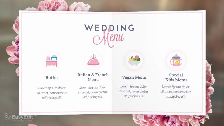 欧式花纹婚礼贺卡祝贺影视片头视频素材影视模板