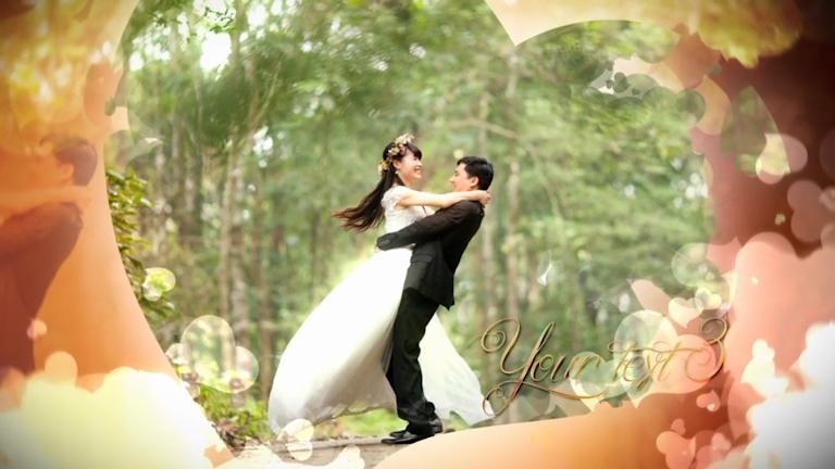 爱情婚礼心形浪漫遮罩辉光片头