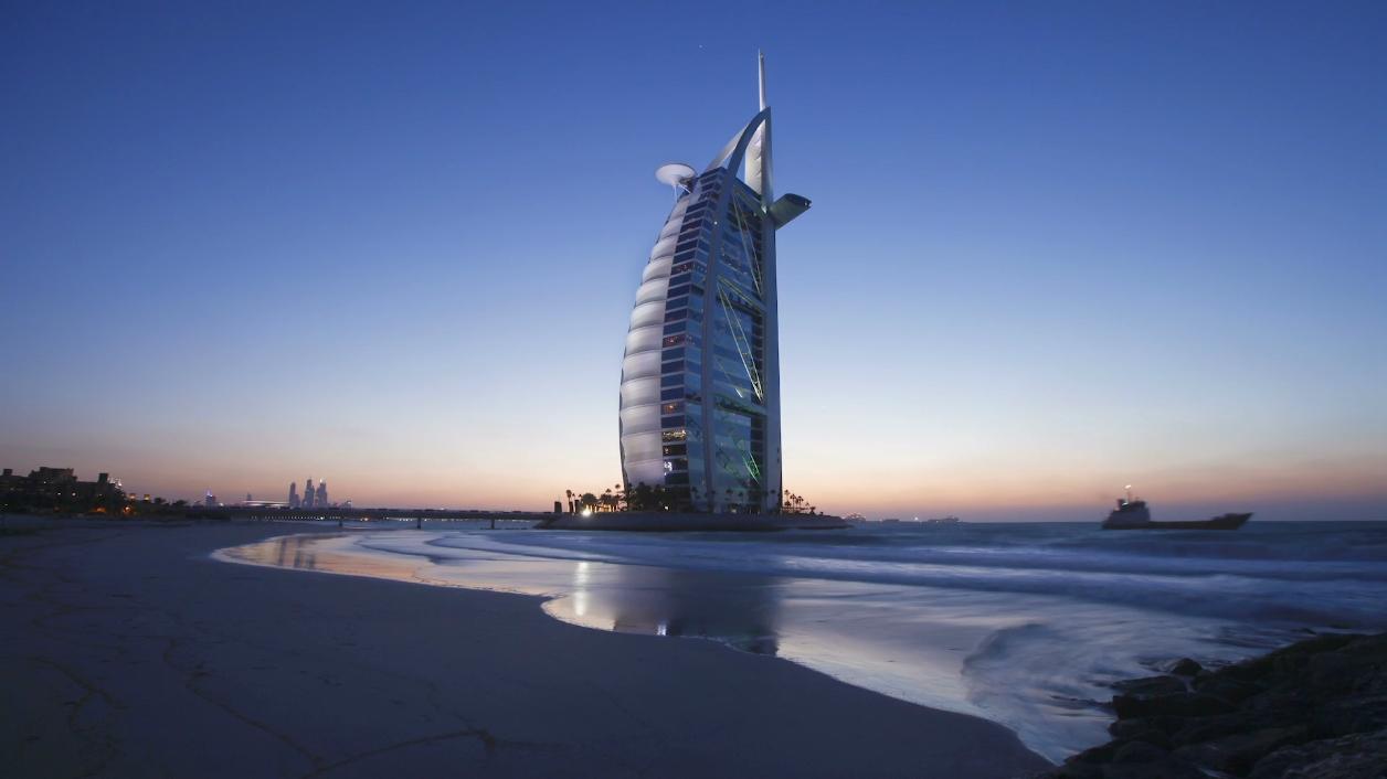 迪拜,酒店,帆船酒店,延时视频素材