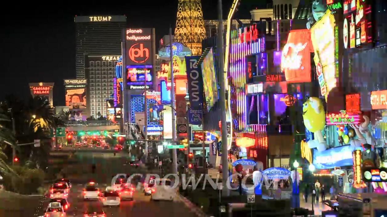 夜景,延时,拍摄,街道,繁华,拉斯维加斯,美国视频素材