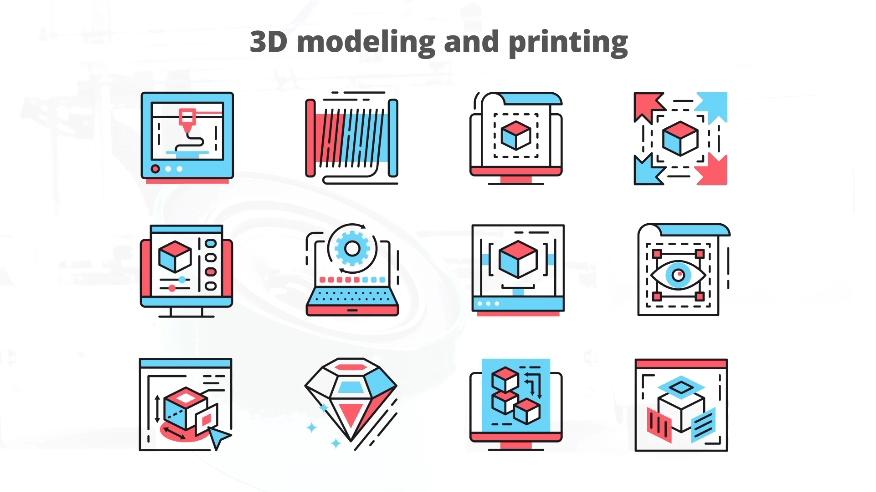3d建模打印业务相关动态图标AE模板