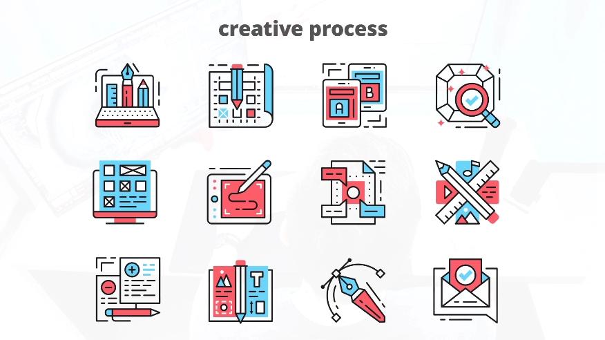 设计工业绘图创作过程动态图标AE模板
