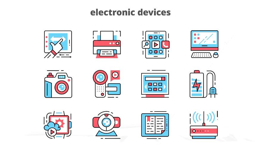 电子设备动态线条勾勒动态图形AE模板