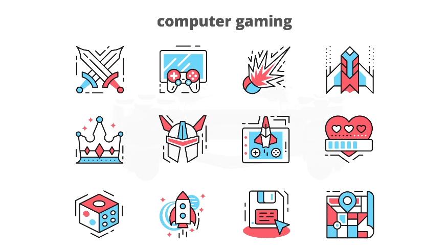 电脑游戏动画动态图标AE模板