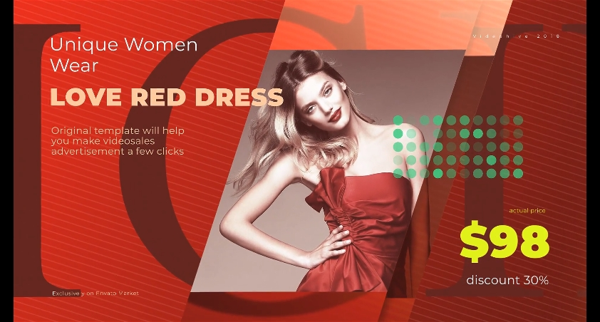 时尚红色服装服饰打折促销幻灯片头视频素材影视模板