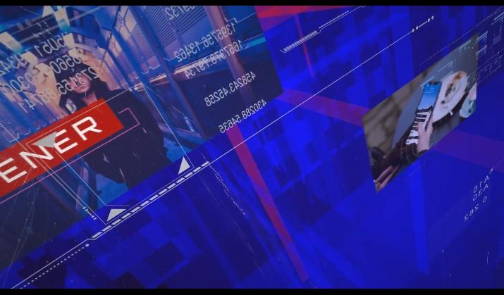 科技空间蓝色新闻资讯色块变换AE模板
