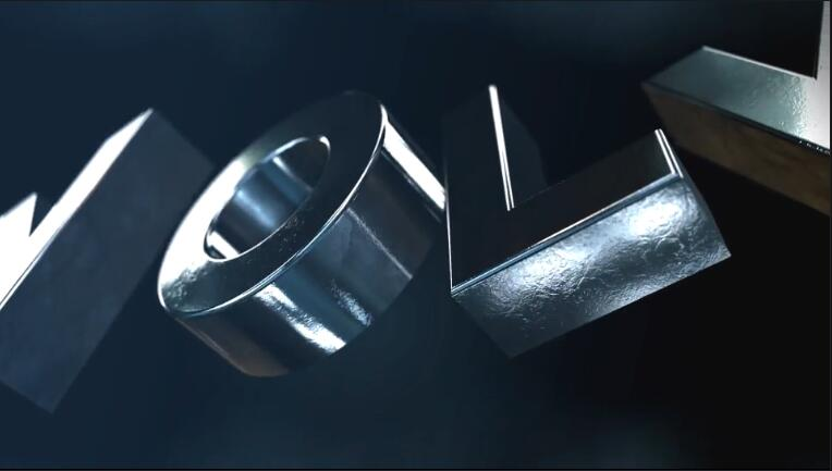 大气震撼金属3d文字片头logo