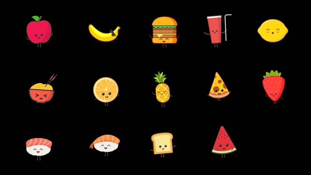 动态,图标,食物,快餐,动漫,卡通视频素材